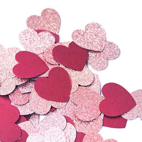 Regendeko 1 Zoll 100 Stück Papier Konfetti Herz Hochzeit Geburtstagsfeier Deko Tischdeko Streudeko (Rot & Rosegold)