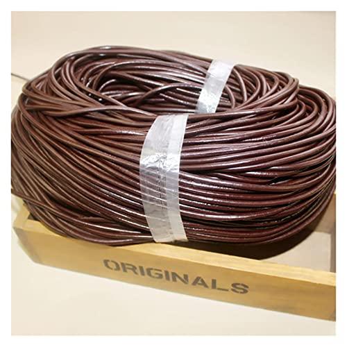 Cordón de cuero y cordones 2 metros / lote 1 mm / 2mm / 3mm / 4mm / 5 mm Cuerda de cuero de cuero de vaca redondo de la abrazadera de la cuerda de cuero para la joyería de bricolaje que hace hallazgos