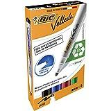 BIC Whiteboard Marker Velleda 1701 Ecolutions Rotuladores de Pizarra Punta Media – Colores Surtidos, Blíster de 4 Unidades