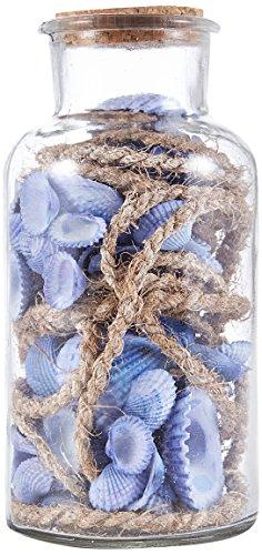 HEITMANN DECO Lot de 2 Bouteilles en Verre avec Coquillages, 2 unités, Verre, Bleu, Beige, 17cm