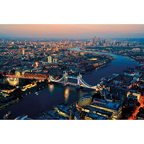 GREAT ART XXL Poster – London bei Sonnenuntergang – Skyline Städte Sightseeing City Stadt Deko Hauptstadt Wanddeko Wanddekoration Wandbild Metropole Motiv Fotoposter (140 x 100 cm)
