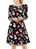 lymanchi Women's Christmas Printed Tunic Dress Fit and Flare A-line Party Dresses 134 S