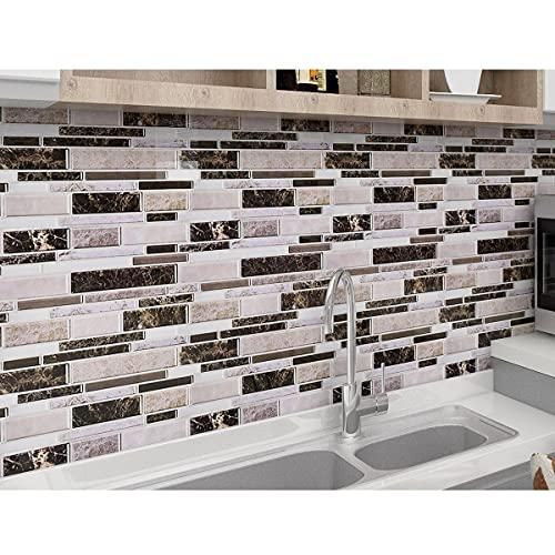 WoStick Pegatinas de Baldosas Azulejos Adhesivos Efecto 3D Pegatinas de Pared Autoadhesivas Murales Azulejos para Cocina y Baño, Impermeable,30.3 x 30.3 cm (10 Piezas)