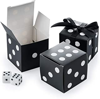 AWELL Black Dice Favor Box Bulk 2x2x2 inches with Black Ribbon, Casino Party Decoration, Pack of 50