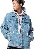 (キャバリア)CavariA メンズ デニムジャケット ジージャン Gジャン ダメージ ビッグシルエット 上着 羽織 46(L) L.BLU(ライトブルー)