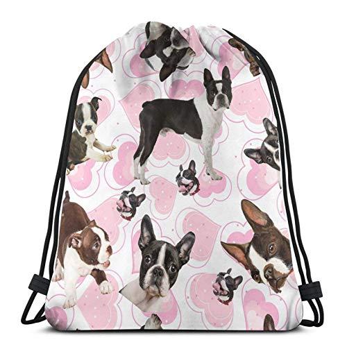 Boston Terrier Love Heart Mochila deportiva con cordón, bolsa de viaje para niños, hombres y mujeres