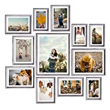 Homemaxs 12 Pack Picture Frame Sets for Wall Collage, Family Picture Frame Collage for Wall, Multi Picture Frame 8x10 in, One 11x14 in, Four 5x7 in, Four 4x6 in, Two 6x8 in, Grey White Picture Frame