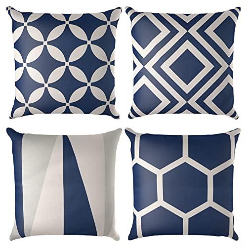 Jodimitty Set di 4 federe decorative per cuscino, 40 x 40 cm, motivo geometrico in cotone e lino, per divano, decorazione della casa, ufficio (geometrica)