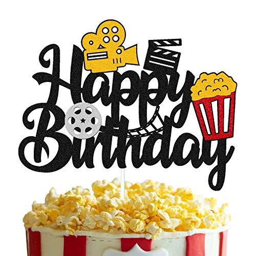 Film Cake Topper Movie Cinema Birthday Cake Decoration Happy Birthday Sign Cake Decor for Film Projector Movie Night Camera Popcorn Theater Theme Bday Party Celerbrating Supplies