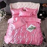Funda de edredón de seda lavada de verano cama de cuatro piezas, ropa de cama funda de edredón de seda de hielo funda de...