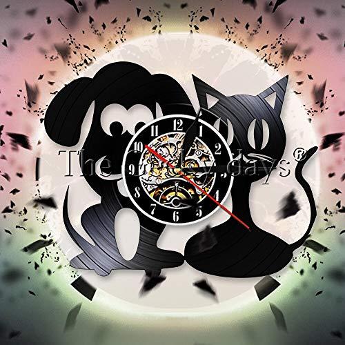 fdgdfgd Reloj de Pared Multicolor 3D Reloj de Pared para Perros y Gatos Reloj de Pared con Registro de Vinilo para clínica de Mascotas   Grabar decoración de Luces de Halloween