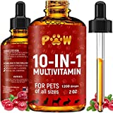 10 In 1 Cat & Dog Multivitamin - Hip & Joint Vitamins For Dogs + Vitamins C, D, B1-12 - Cranberry Supplement For Dogs & Cat Vitamins - Bladder, Kidney, Skin, Joint Support - Glucosamine Dog Supplement