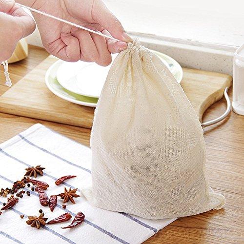 Wiederverwendbar Filter Beutel mit Baumwolle Kordelzug, ohne Unordnung Kalt Brau Kaffeefilter Ultra Fein für Suppe Filter Tasche Mutter Milch Tasche Sieb Filter Kochen Küche Vorräte - Weiß, 5pcs