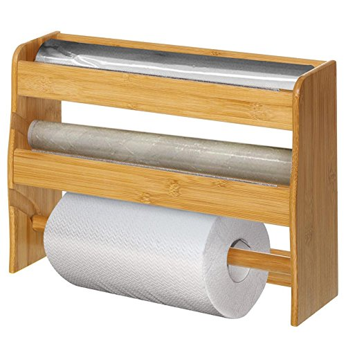 Dispensador portarrollos de Pared de Cocina de Madera de bambú, 3 portarrollos con lengüeta Dentada, Color bambú Natural, Dimensiones 36 x 10 x 26 cm, Porta Papel de Aluminio