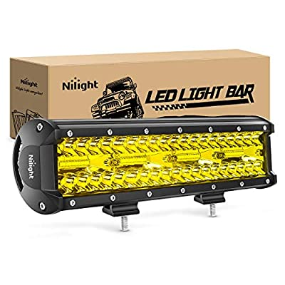 Nilight 12 Inch 240W Amber Lights Triple Row Spot & Flood Combo 30000LM Bar Driving Boat Led Off Road Lights for Trucks, 2 Years Warranty