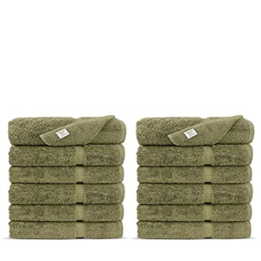 Luxury Premium long-stable Hotel & Spa Turkish Cotton 12-Piece Eco-Friendly Washcloth Set (Driftwood)