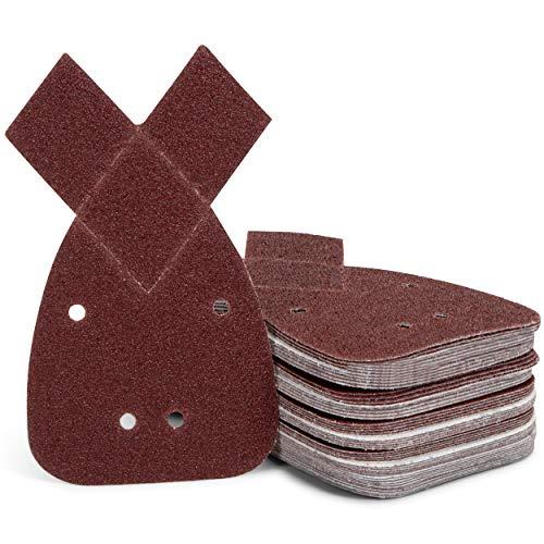 Juego de lijas triangulares | 50 unidades | hojas de lija | 140 mm | autoadhesivas | papel de lija para ratón | 4 agujeros | grano 40/60/80/120/240 compatible con Black + Decker Mouse®