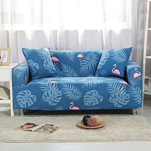 Funda Sofá 235-300 cm con Funda de Cojín de 4 Piezas 45x45 cm (Pack de 5), Poliéster Stretch Cubre Sofá Funda Protector Antideslizante Sofa Couch Cover (Flamingo/4 Asientos)