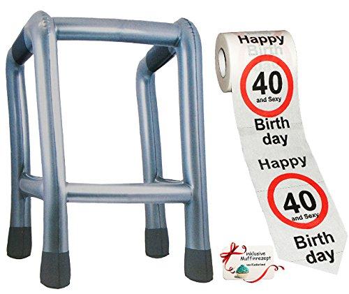 alles-meine.de GmbH 2 TLG. Set: __ Gehhilfe - ( Aufblasbar ) + Toilettenpapier Rolle -  40. Geburtstag / vierzig und Sexy - Happy Birthday  - lustiger Partyartikel - für  alte..