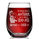 Shop4Ever Any Woman Can Be A Mother But It Takes A Mom To Be A Dad Too Engraved Stemless Wine Glass Strong Mom Single Mom Gift