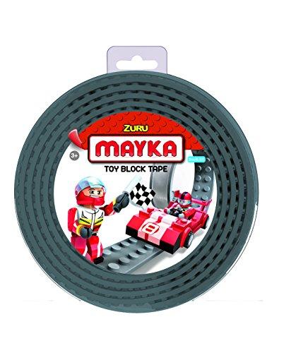 Mayka 34653 - Klebeband für Lego Bausteine, 2 m selbstklebendes Band mit 4 Noppen, graues Bausteinband, flexibles Noppenband zum Bauen mit Legosteinen für Kinder ab 3 Jahre, wiederverwendbar