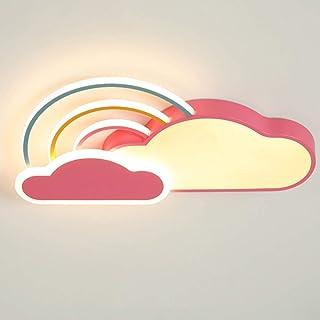 42W Plafón LED Lámpara Infantil Rosado Regulable Lámpara de Techo de Metal de Diseño Nubes Ultrafino con Arco Iris Luz de Decoración Lámpara de Habitación Infantil Moderna con Control Remoto L65×W35cm