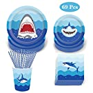 69 Pack Shark Disposable Tableware, DreamJ Shark Party Supplies with Shark Plates,Napkins, Cups and Straws for 8 Guests Kids Ocean, Nautical Shark Themed Parties