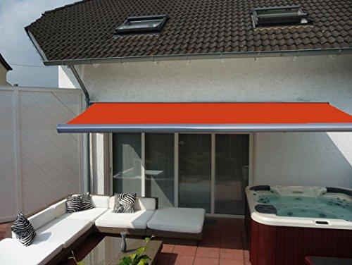 Prime Tech Elektrische Kassettenmarkise/Gelenkarm-Markise 400 x 300 cm/Gehäuse anthrazit-grau/Tuch orange - rot / #580