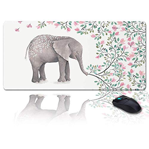 MIGAGA Extra Large Extended Gaming Mouse Pad(35x15 in),Spring Flowwer,Elephant Best Mother Mousepad,Long Non-Slip Rubber Base,XXL Large Keyboard Desk Mat for Desktop/Laptop/Office/Home