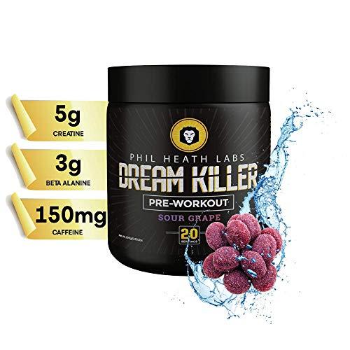 Phil Heath Labs All Natural Dream Killer™ Supplement | Preworkout Energy Drink for Pump Focus with Stamina - Teacrine Creatine Beta Alanine Caffeine | 20 Servings | Sour Grape