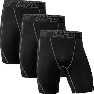 bafly Men's Compression Shorts Sliding Spandex Underwear Boxer Briefs, 3 Pack: Black(Gray) 3, Small