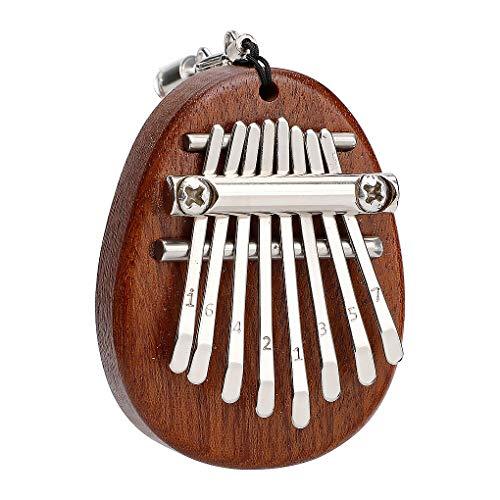 Guangcailun 8 Claves Mini Kalimba Pulgar Piano Mbira Madera sólida Sansula Pulgar Piano Mochila Colgante decoración de Juguete de Regalo con Correa elipse