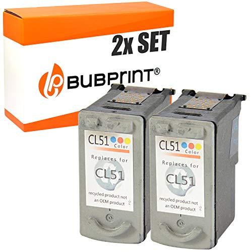2 Bubprint Druckerpatronen kompatibel für Canon CL-51 für Pixma IP2200 IP6200 IP6210D IP6220D IP6300 IP6310D IP6320D MP150 MP160 MP170 MP180 MP450 MP450X MP460 MX300 MX310 Color