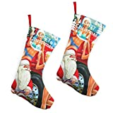 Pummbaby Bad Santa Repairs Tires Sexy Girlmerry Christmas Stockings Xmas Socks Ornament Themed 10 Inch Double 2pcs Large Pair Formal Unique Female Male Hanger Pole