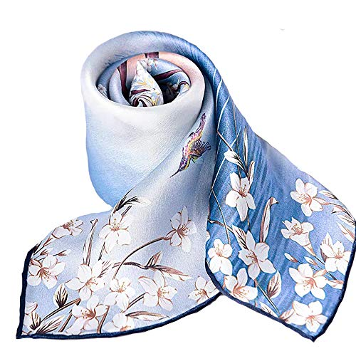 100% Pure Mulberry Silk Small Square Scarf -21'' x 21''- Breathable Lightweight Neckerchief -Digital Printed Headscarf