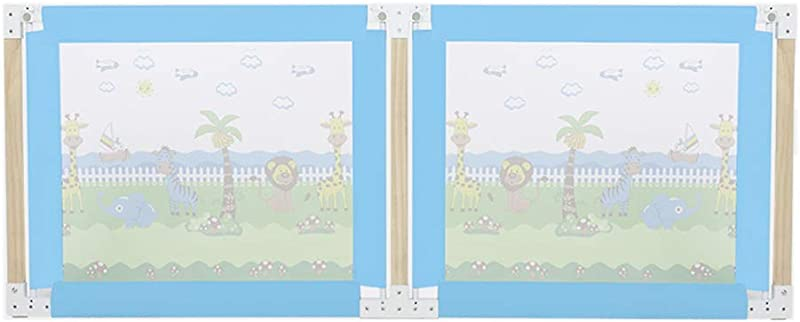 Lquide Bed Guardrail Extra Tall Lifting Guardrail For Toddlers Wood Double Opening Door Baby Bedrail Blue Bed Guardrail For Kids With Breathable Mesh Size 180CM