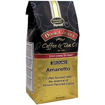 Door County Coffee, Amaretto, Almond Liquor Flavored Coffee, Medium Roast, Ground Coffee, 10 oz Bag