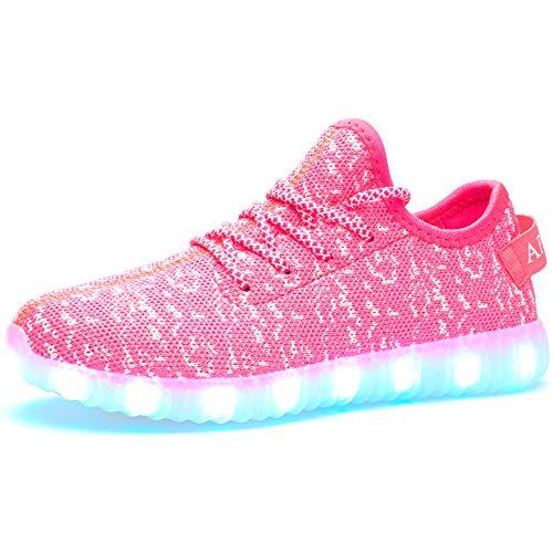 APTESOL Unisex LED LED Leuchten Schuhe Mode Lässig Männer und Frauen LED Licht Blinkt Sneaker Leichtgewichts Atmungsaktiv Stricken Turnschuhe (Pink, EU37)