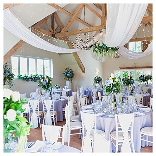 White Ceiling Drapes 2 Panels 5x10 Feet Long Sheer Voile Chiffon Ceiling Draping Wedding Hall Ceremony Party Decorations