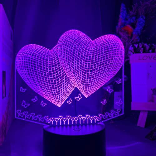 ZXBB Romántico 3d Noche Lámpara Corazón Holograma Acrílico Grabado Láser Luz de Noche Para Adulto Dormitorio Decoración Ambiente Led Luz de Noche 16colorwithremote
