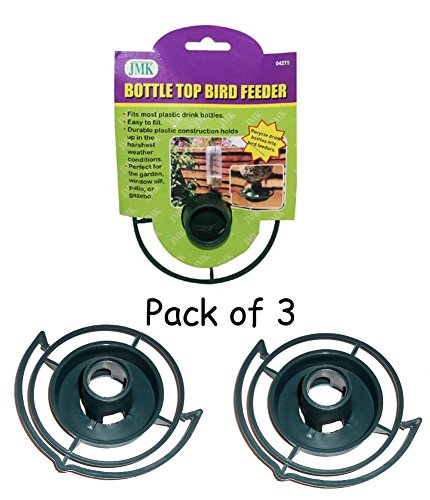 Easy to Make your Own - recycle empty SODA pop Bottle Top BIRD FEEDER (Green - Pack of 3)