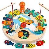 Tanku Toys 2 en 1 Juego de Pesca 30 Piezas de Madera Magntica Letra del Alfabeto Juguete de Pesca, Juguete Educativo de Aprendizaje de Cumpleaos para Nios Pequeos con Caas de Pescar Magnticas