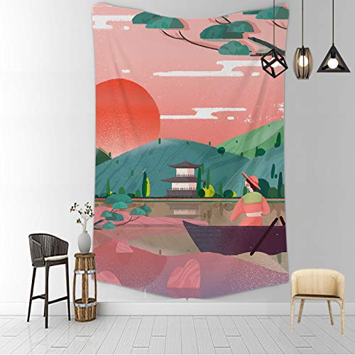 CNYG Manta psicodélica Kanagawa Wave Print Suspensión Manta Colgante de Pared Cama Bohemia Colgante de Pared Decoración del hogar Tapiz de Dormitorio Agriturismo 150x180CM
