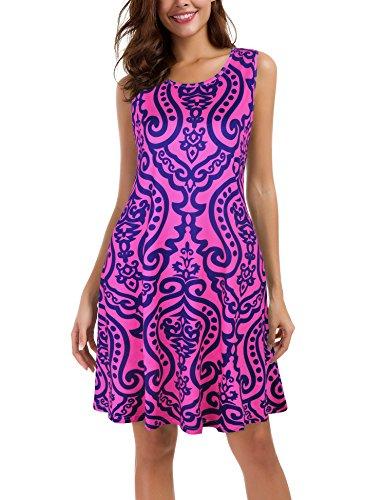 Le Vonfort Urban Dress for Women, Wedding Beach Evening Party Clothes Floral Print Pink Large