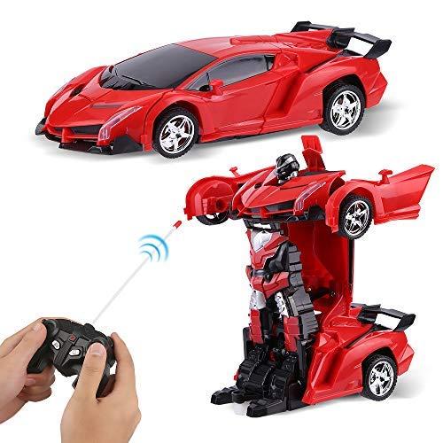 Sylanda Auto Ferngesteuert Kinder, Wiederaufladbar RC Auto Rennauto mit Fernnedienung Radio Ferngesteuerter High Speed Spielzeugauto Rennfahrzeug, Ferngesteuertes Auto Transform Roboter
