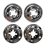 Ram 3500 Wheel Skins - MGPRO 4 PCS of Wheel Simulators 17 Inch 8 Lug 5 Hand Hole Hubcap Kit Fit for 2003-2014 Dodge Ram 3500 Trunk Polished Stainless Steel Bolt On Dually Wheel Cover Set With Center Caps(17