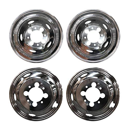"MGPRO 4 PCS of Wheel Simulators 17 Inch 8 Lug 5 Hand Hole Hubcap Kit Fit for 2003-2014 Dodge Ram 3500 Trunk Polished Stainless Steel Bolt On Dually Wheel Cover Set With Center Caps(17"")"