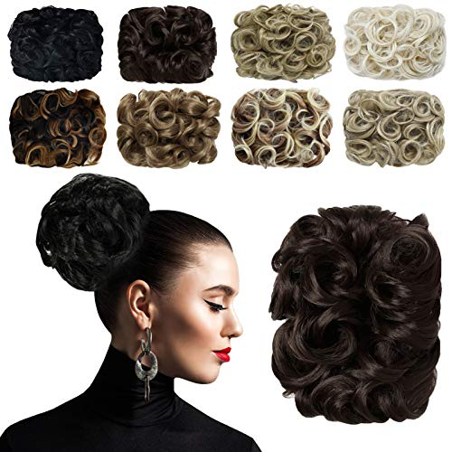 Yamel Messy Bun Hair Piece Curly Comb Stretch Chignon Synthetic Hair Scrunchie for Women Chocolate Brown