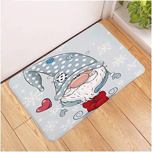 Deurmat, 3D-gedrukte cartoon lief dwerg antislip soft ingang tapijt mat, voetmat welkom slaapkamer hal rechthoekige deurmat voor Kerstmis Home woonkamer inrichting 50×80cm