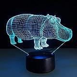GEZHF Lampe 3D tactile interrupteur à distance batterie externe sans fil lampe 3D Veilleuse Enfant nouveauté Table lumière décoration 3D Illusion lumière lettres